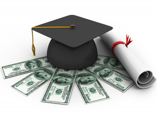 Graphic of rolled diploma and graduation cap sitting on a spread of 100 dollar bills