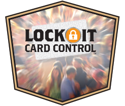 lock it card control logo with crowd in background