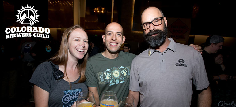 Three people from the colorado brewers guild