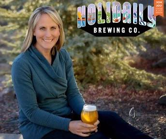 Karen Hertz with Holidaily Brewing logo