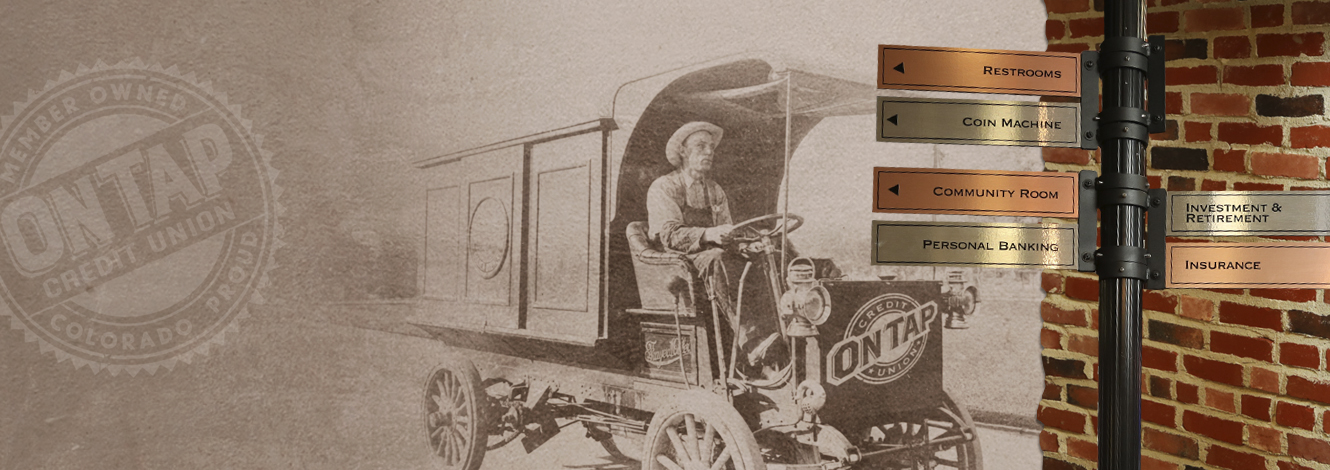 Collage of On Tap Credit Union's internal directional signage and historic image of man driving old car