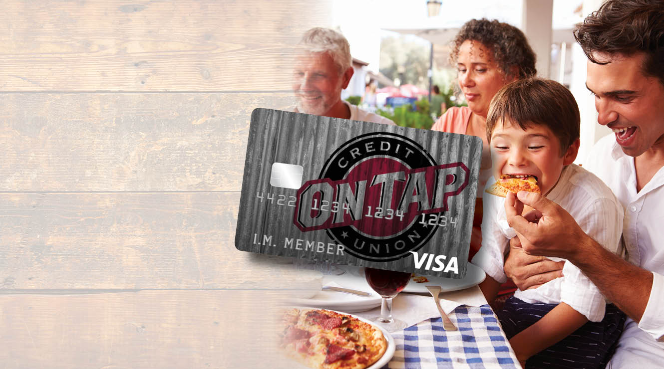 photo of boy eating pizza and composited on tap credit card