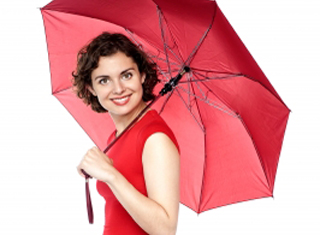 women smiling with red umbrella