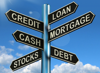 Simulated cross-road sign showing Loan, Credit, Mortgage, Cash, Debt and Stocks